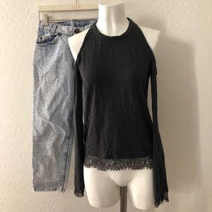 Splendid Grey Cold Shoulder lace hem top